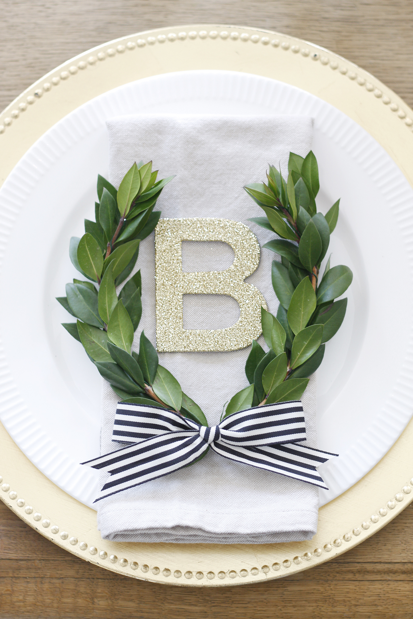 french garden tablescape monogram laurel