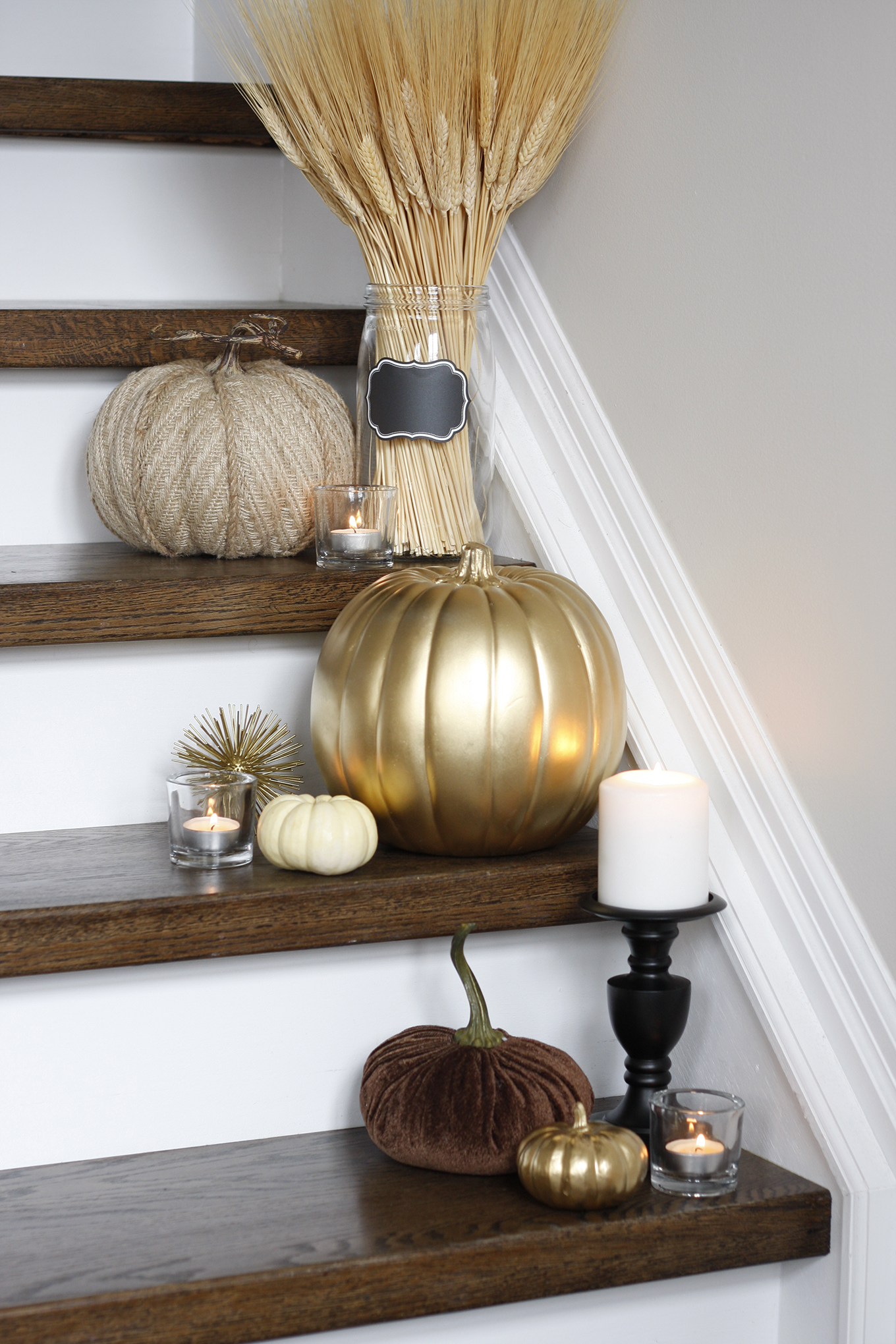 Decorating for Fall on Stairs